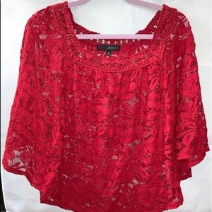 Romantic red lace like poncho top